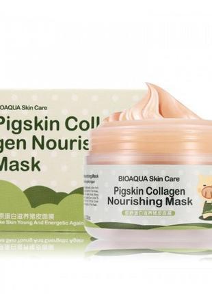 Ночная коллагеновая маска для лица и шеи bioaqua pigskin colla...