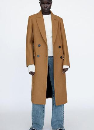 Шерстяное пальто zara цвета кэмел