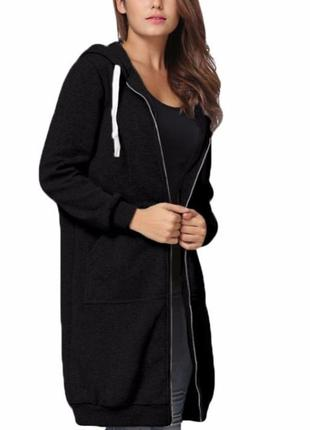 Батник женский теплый длинный с карманами и капюшоном длинная ...