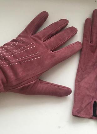 Замшевые перчатки на утеплителе, натуральная кожа замша,