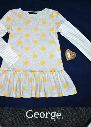 Котоновое платье в горошек с длинным рукавом р.110