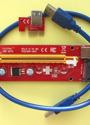 Райзер PCI-E 1x to 16x 60см USB Riser ver007S SATA Бесплатная дос