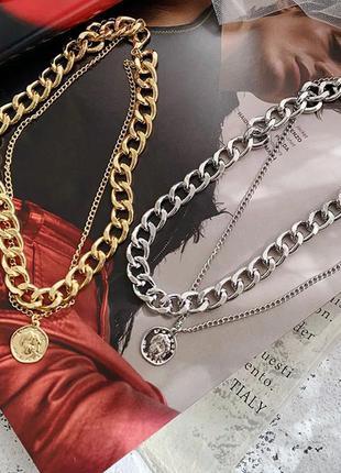 Колье массивное золотое трендовое с монеткой