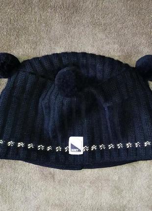 Вязаная шапка с утеплением на ушах husky 100% wool пог 26-34см