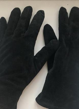 Теплые замшевые перчатки на флисе, натуральный замш, кожа на у...