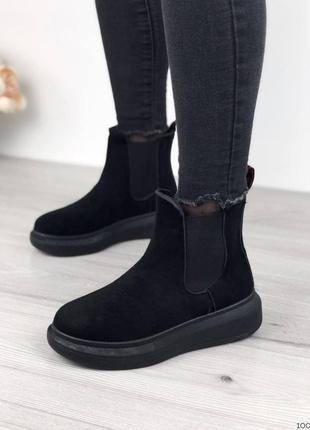 Черные ботинки челси деми замшевые женские ботинки эко замш
