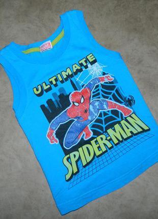 Майка голубая с человеком-пауком spider-man на мальчика 3-4 года