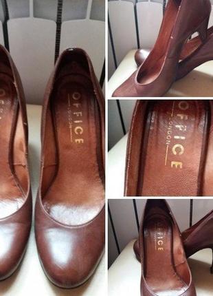 Кожаные туфли лодочки -38р- бренд..office кожа