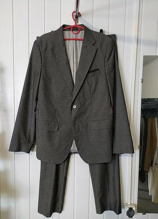 Шерсть- котон мужской деловой костюм slim fit