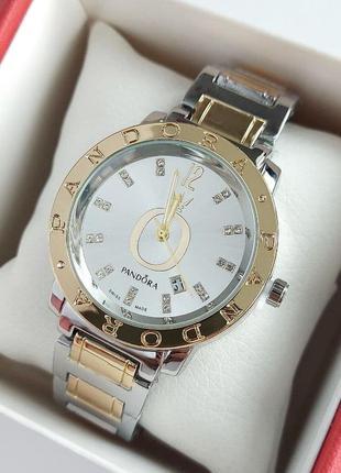Женские наручные часы серебро-золото на браслете