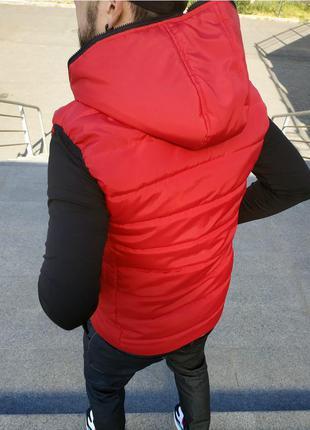 🔝мужская теплая красная жилетка с капюшоном.🔥