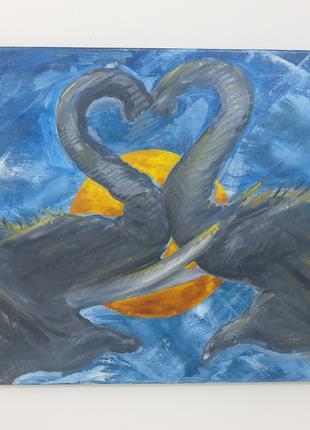 Картина маслом Слоны