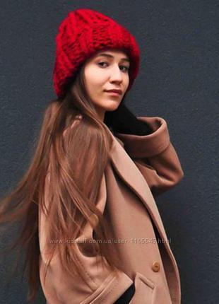 ❄️ шапка бини токари объёмная крупная вязка полушерсть шерсть ...