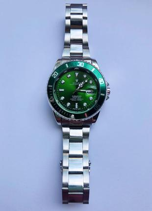 Часы мужские стального цвета с зеленым циферблатом