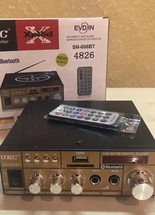 Усилитель звука UKC SN-606BT с Bluetooth, Караоке, FM, USB, 30 Вт
