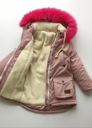 Парка куртка пальто на девочку овчина 116-126 украина ручная р...