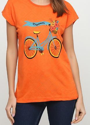 Оранжевая футболка с рисунком ТМ Diyamor