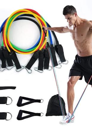 Набор трубчатых эспандеров для фитнеса комплект
