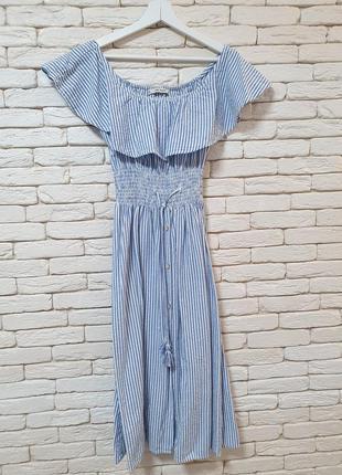 Полосатое платье миди zara
