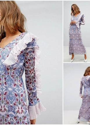 Шикарное длинное шифоновое платье с красивыми рукавами vero moda