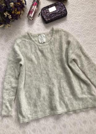 Махеровая теплая кофточка - свитер l размер , натуральная