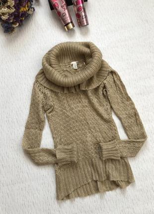 H&m махеровый свитер золотистого цвета м- размер