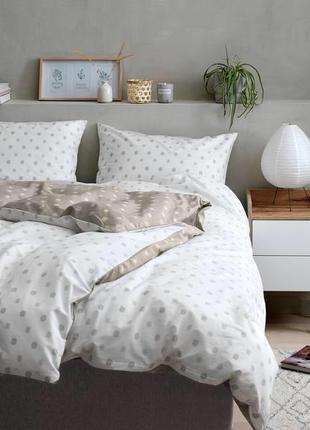 Комплект постельного белья 2-х спальный, бежево-белый