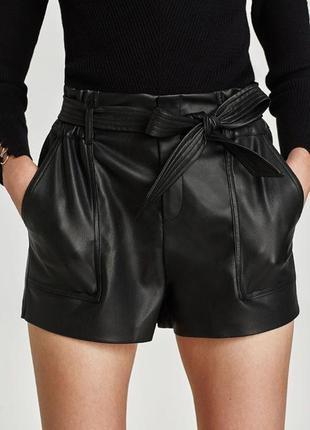 Zara шорты из искусственной кожи высокая посадка s - размер
