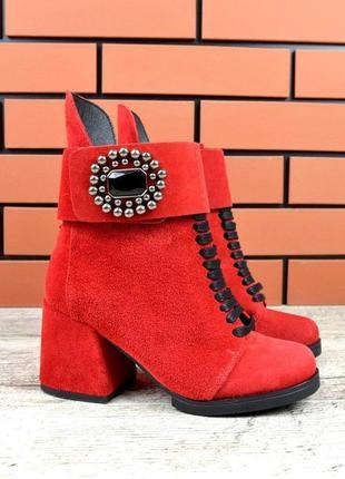 Натуральная замша зимние замшевые ботинки на грубом каблуке с ...
