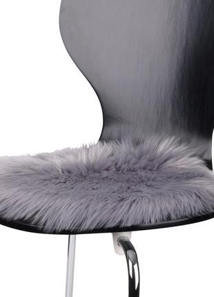Подушка на стуло серая круглая , из меха