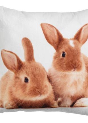 Декоративная подушка с кроликами 30*30