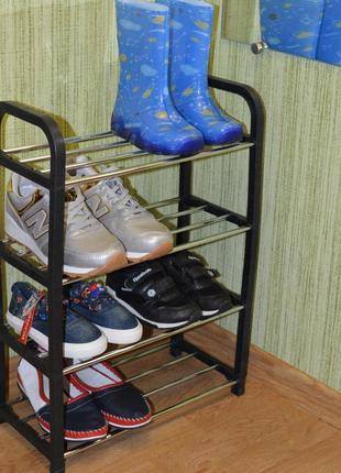 Полка для обуви на 4 секции. Этажерка с 4 полками