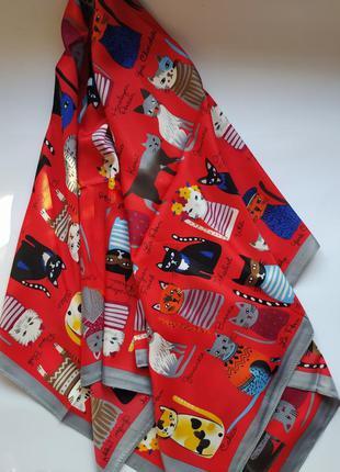 Платок шелковый коты модный котики