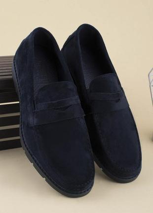 Мужские темно-синие туфли из эко-замши