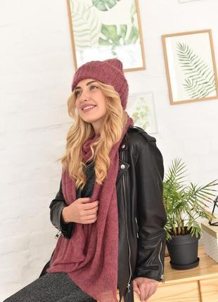 Комплект шапочка + шарф из премиальной итальянской пряжи.