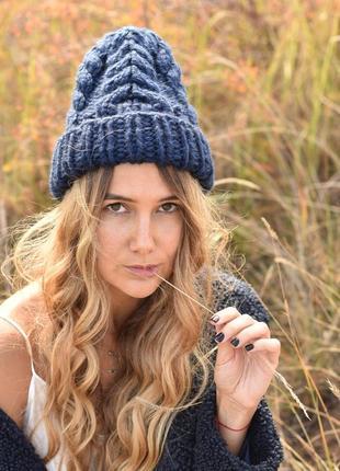 Женская зимняя шапка крупной вязки. есть цвета!