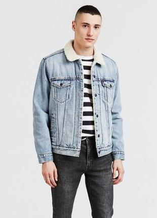 Джинсовая куртка levis premium sherpa trucker jacket, размер m