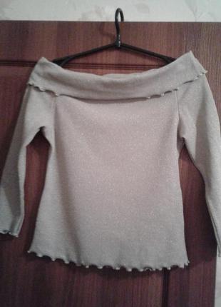 Кофта кофточка джемпер свитер с люрексом серебристая новая р.s-m