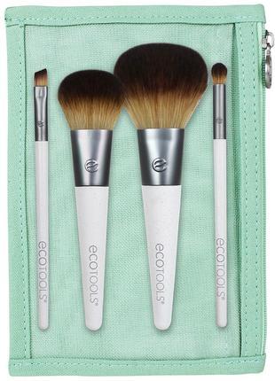 Набор кистей для макияжа ecotools, тревэл размер, в косметичке.