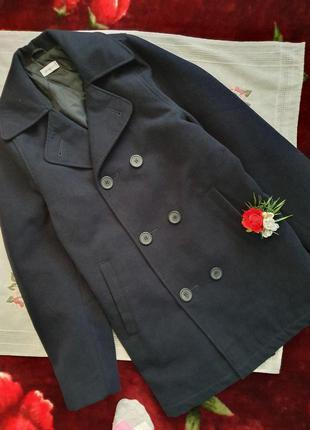 Пальто чоловіче синє на тонкому синтепоні мужское