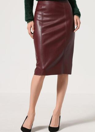 Модная юбка-карандаш из эластичной эко кожи warehouse, р.12