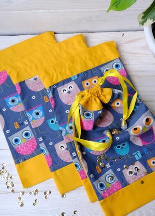 Эко мешочек с совами, эко торбочка, мешочек для хранения, для ...