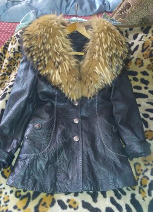 Кожаная куртка с натуральным мехом)