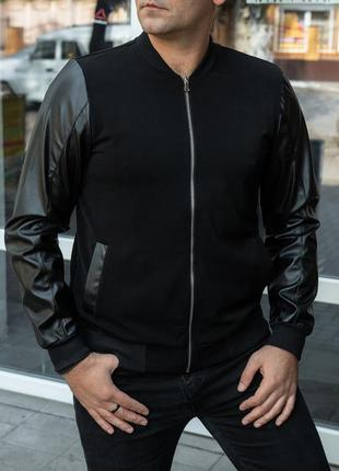 Мужской бомбер/кофта с кожаными рукавами