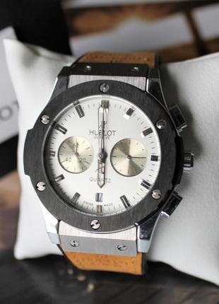 "Наручные стильные мужские часы ""hublot big bang beige&white"""
