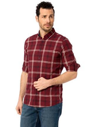 Бордовая мужская рубашка lc waikiki в белую и черную клетку с ...