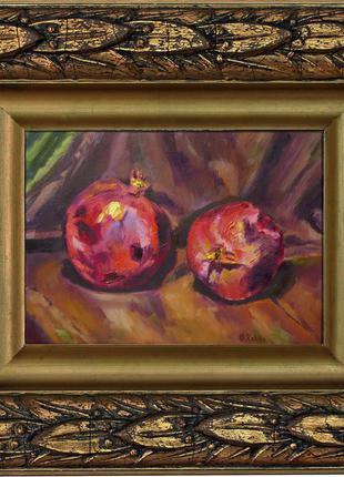 Натюрморт с гранатами, авторская живопись, картина маслом, 35*25