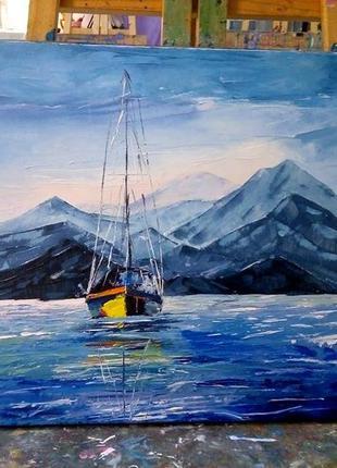 Морской пейзаж, картина маслом, подарок мужчине, 50*50см