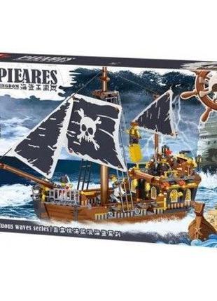 Конструктор ZHE GAO QL1800 Пиратский корабль Бог ветра лего lego