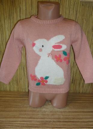 Свитер вязаный на 2-3 года с рисунком кролик